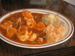 Shrimp rancheros plate